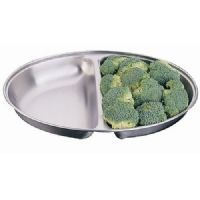 "10"" Oval Vegetable Dish Two Compartments"